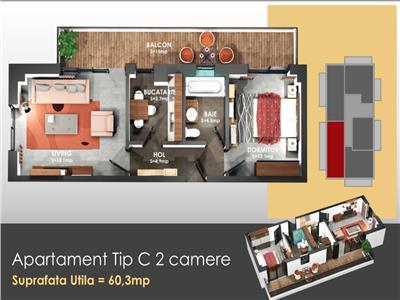 Apartament 2 camere, Copou | DECOMANDAT | PROIECT NOU